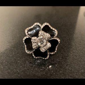 Lia Sophia Black Dahlia Flower Ring